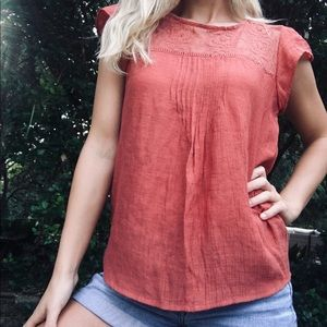 "mine Tops - ""Mine"" Red Lace Insert Blouse Top"